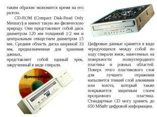 таким образом экономится время на его разгон. CD-ROM (Compact Disk-Read Only