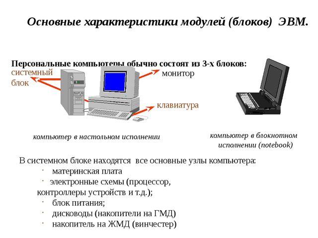 Основные характеристики модулей (блоков) ЭВМ. Персональные компьютеры обычно...