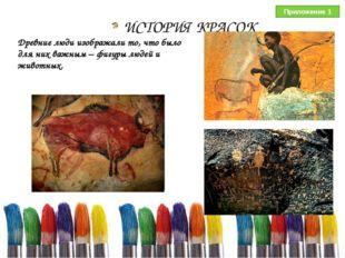 ИСТОРИЯ КРАСОК Древние люди изображали то, что было для них важным – фигуры