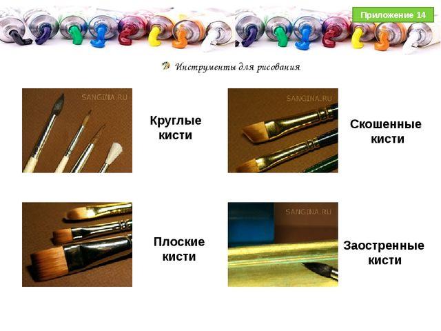 Инструменты для рисования Круглые кисти Скошенные кисти Плоские кисти Заостр...