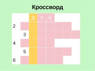 Кроссворд 1 Д У Б 2 3 4 5 6