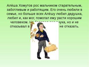 Алёша Хомутов рос мальчиком старательным, заботливым и работящим. Его очень л