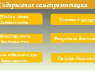 Учеба и сфера деятельности Участие в конкурсах Инновационная деятельность Вн