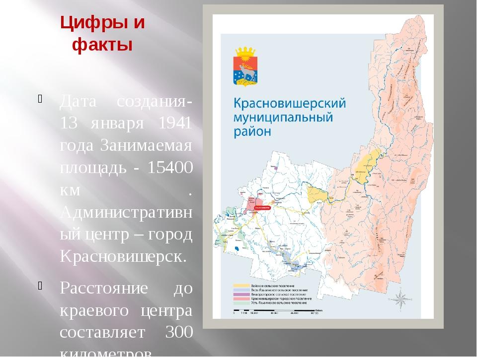 Цифры и факты Дата создания-13 января 1941 года Занимаемая площадь - 15400 км...