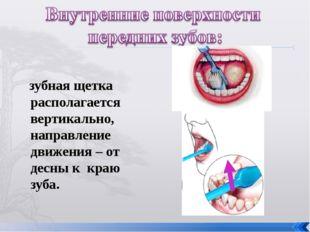 зубная щетка располагается вертикально, направление движения – от десны к кр
