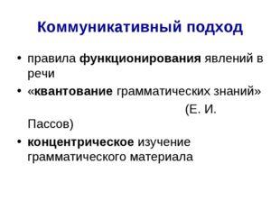 Коммуникативный подход правила функционирования явлений в речи «квантование г