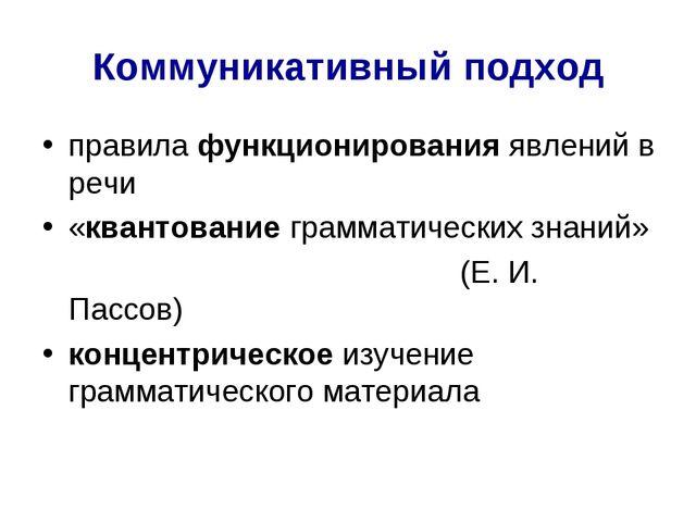 Коммуникативный подход правила функционирования явлений в речи «квантование г...