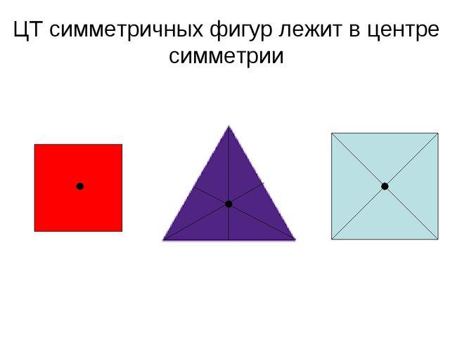 ЦТ симметричных фигур лежит в центре симметрии