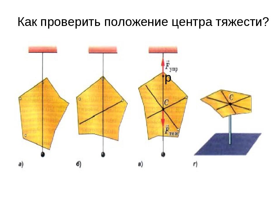 р Как проверить положение центра тяжести?