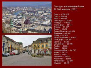Города с населением более 20 000 человек (2001) Вена — 1 550 123 Грац — 226 2