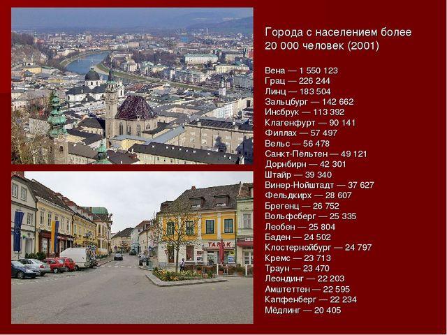 Города с населением более 20 000 человек (2001) Вена — 1 550 123 Грац — 226 2...