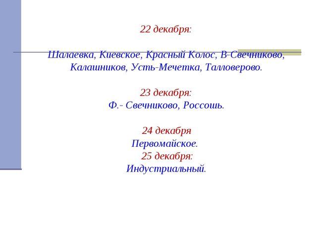 22 декабря: Шалаевка, Киевское, Красный Колос, В-Свечниково, Калашников, Уст...