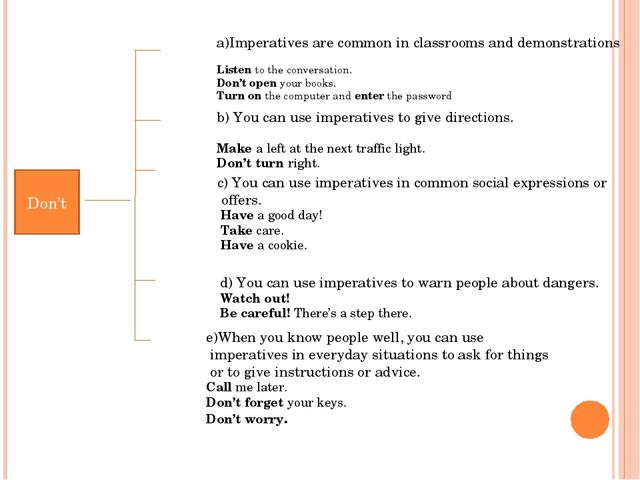 Don't a)Imperatives are common in classrooms and demonstrations Listen to the...