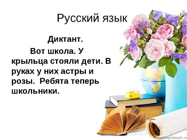 Русский язык Диктант. Вот школа. У крыльца стояли дети. В руках у них астры...
