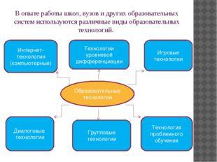 В опыте работы школ, вузов и других образовательных систем используются разли