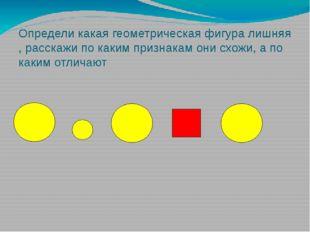 Определи какая геометрическая фигура лишняя , расскажи по каким признакам они