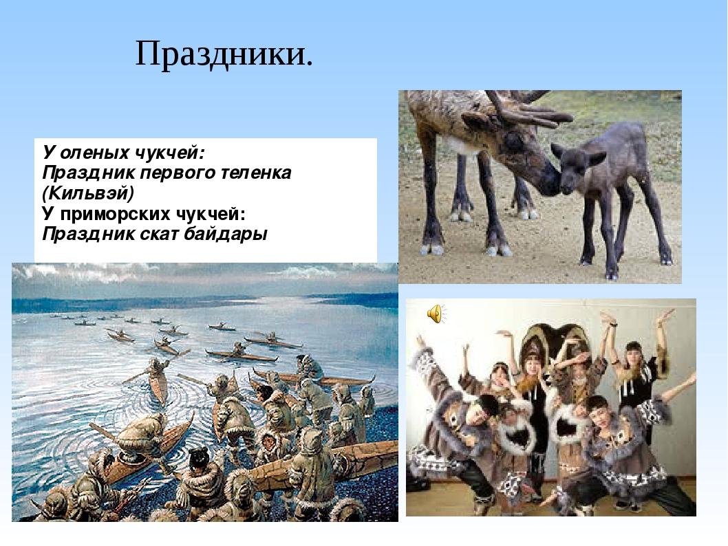 Праздники. У оленых чукчей: Праздник первого теленка (Кильвэй) У приморских ч...