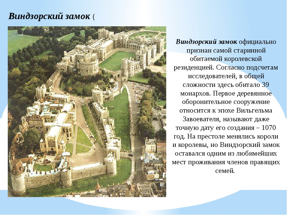 Виндзорский замок ( Виндзорский замок официально признан самой старинной обит...