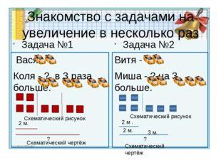 Знакомство с задачами на увеличение в несколько раз Задача №1 Вася - Коля - ?