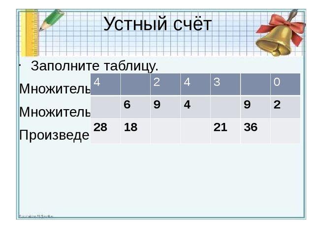 Устный счёт Заполните таблицу. Множитель Множитель Произведение 4 2 4 3 0 6 9...