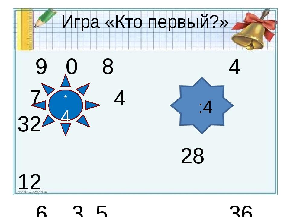 Игра «Кто первый?» 9 0 8 4 7 4 8 32 28 12 6 3 5 36 * 4 :4