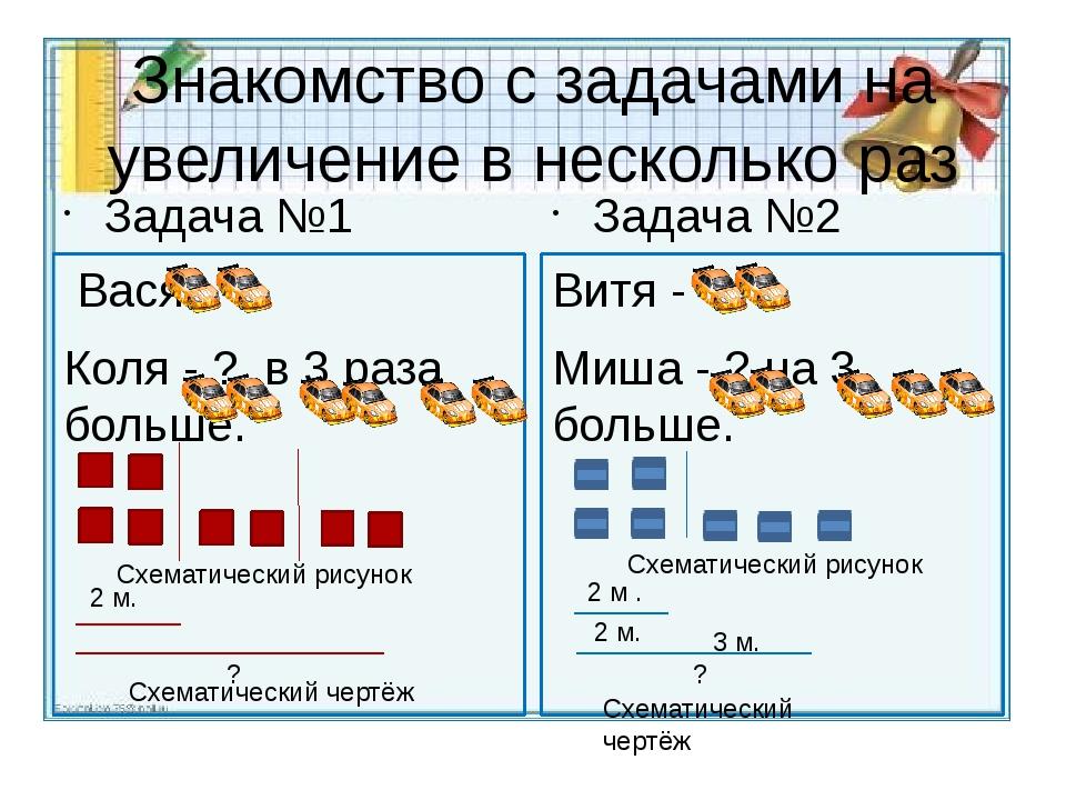 Знакомство с задачами на увеличение в несколько раз Задача №1 Вася - Коля - ?...