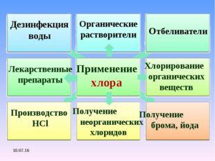 Применение хлора Отбеливатели Производство HCl Получение брома, йода Дезинфек