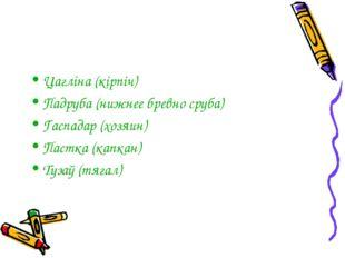Цагліна (кірпіч) Падруба (нижнее бревно сруба) Гаспадар (хозяин) Пастка (капк