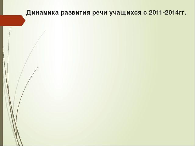 Динамика развития речи учащихся с 2011-2014гг.