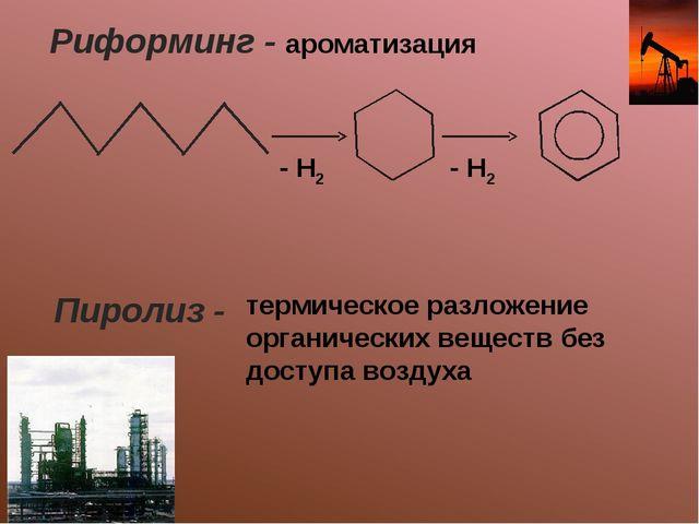 Риформинг - ароматизация - Н2 - Н2 Пиролиз - термическое разложение органичес...