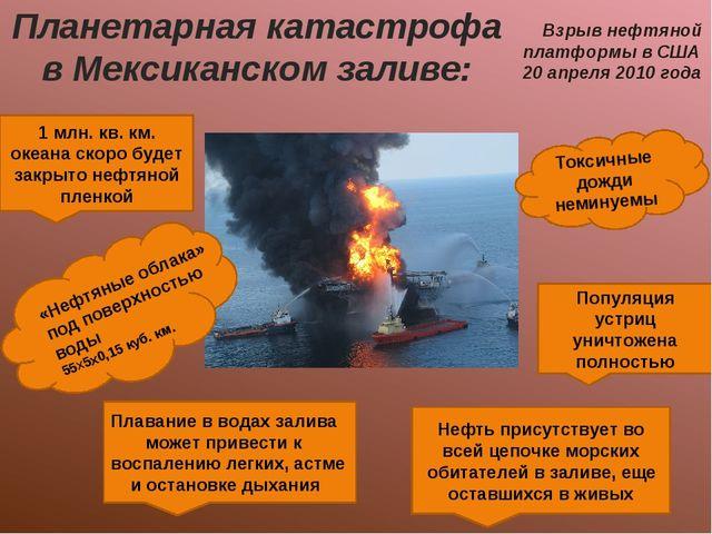Планетарная катастрофа в Мексиканском заливе: Взрыв нефтяной платформы в США...