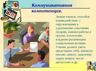 Коммуникативная компетенция. Знание языков, способов взаимодействия с окружаю