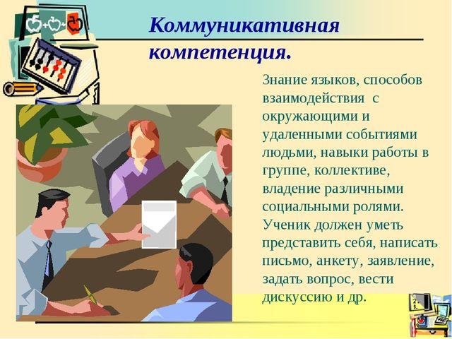 Коммуникативная компетенция. Знание языков, способов взаимодействия с окружаю...