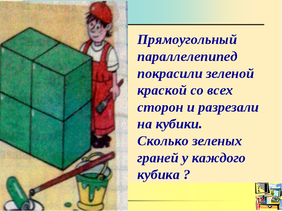 Прямоугольный параллелепипед покрасили зеленой краской со всех сторон и разре...