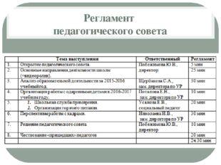 Регламент педагогического совета