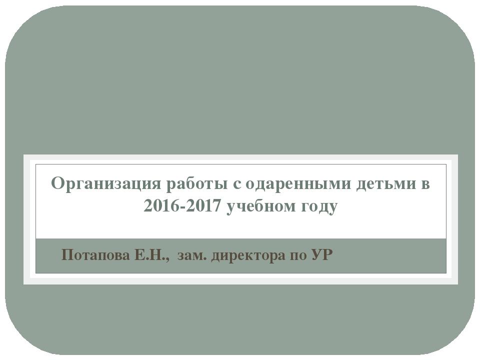 Организация работы с одаренными детьми в 2016-2017 учебном году Потапова Е.Н....