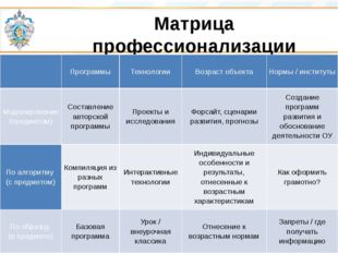 Матрица профессионализации Программы Технологии Возраст объекта Нормы / инсти