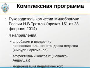 Комплексная программа Руководитель комиссии Минобрануки России Н.В.Третьяк (п