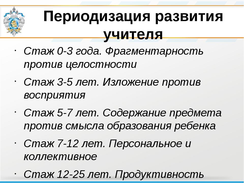 Периодизация развития учителя Стаж 0-3 года. Фрагментарность против целостнос...
