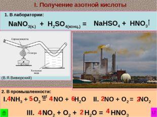 (В.Я.Вивюрский) NaNO3(к.) + H2SO4(конц.) = 1. В лаборатории: I. Получение азо
