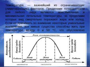 Температура — важнейший из ограничивающих (лимитирующих) факторов. Пределами