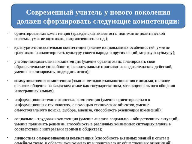ориентированная компетенция (гражданская активность, понимание политической с...