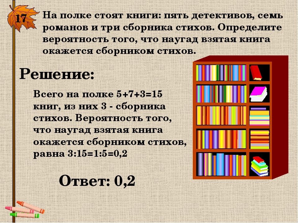 17. На полке стоят книги: пять детективов, семь романов и три сборника стихов...
