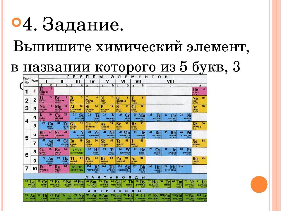 4. Задание. Выпишите химический элемент, в названии которого из 5 букв, 3 оди...