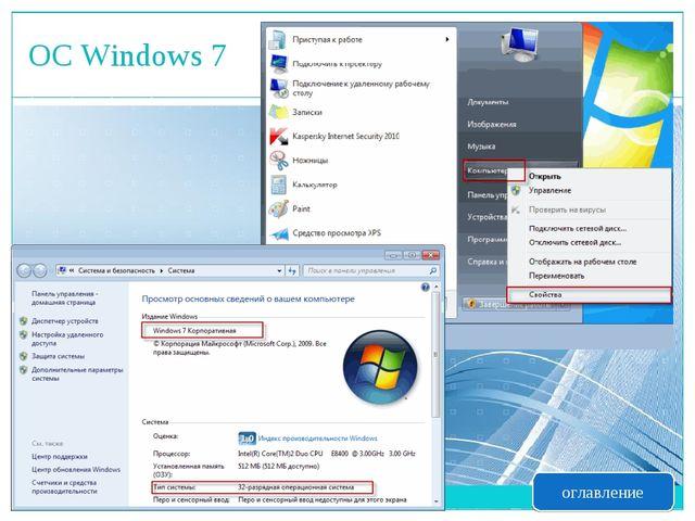 ОС Windows 7 оглавление