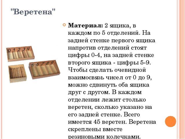"""""""Веретена"""" Материал:2 ящика, в каждом по 5 отделений. На задней стенке перво..."""