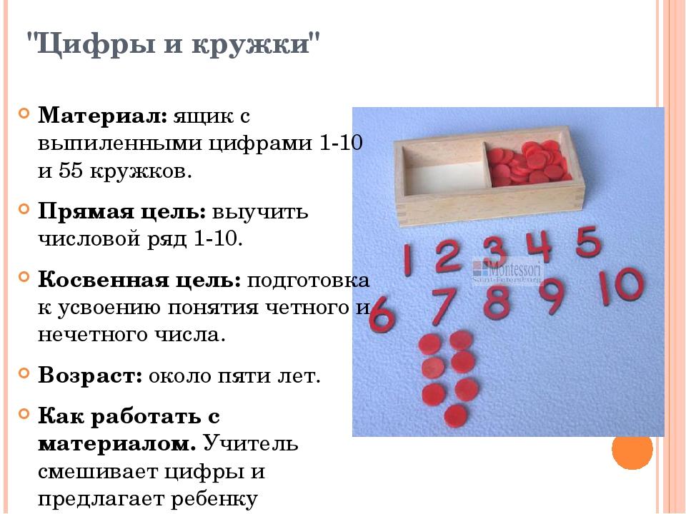 """""""Цифры и кружки"""" Материал:ящик с выпиленными цифрами 1-10 и 55 кружков. Прям..."""
