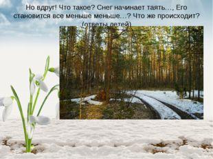 Но вдруг! Что такое? Снег начинает таять…, Его становится все меньше меньше…?