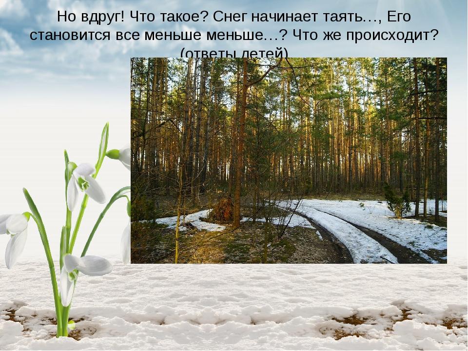 Но вдруг! Что такое? Снег начинает таять…, Его становится все меньше меньше…?...