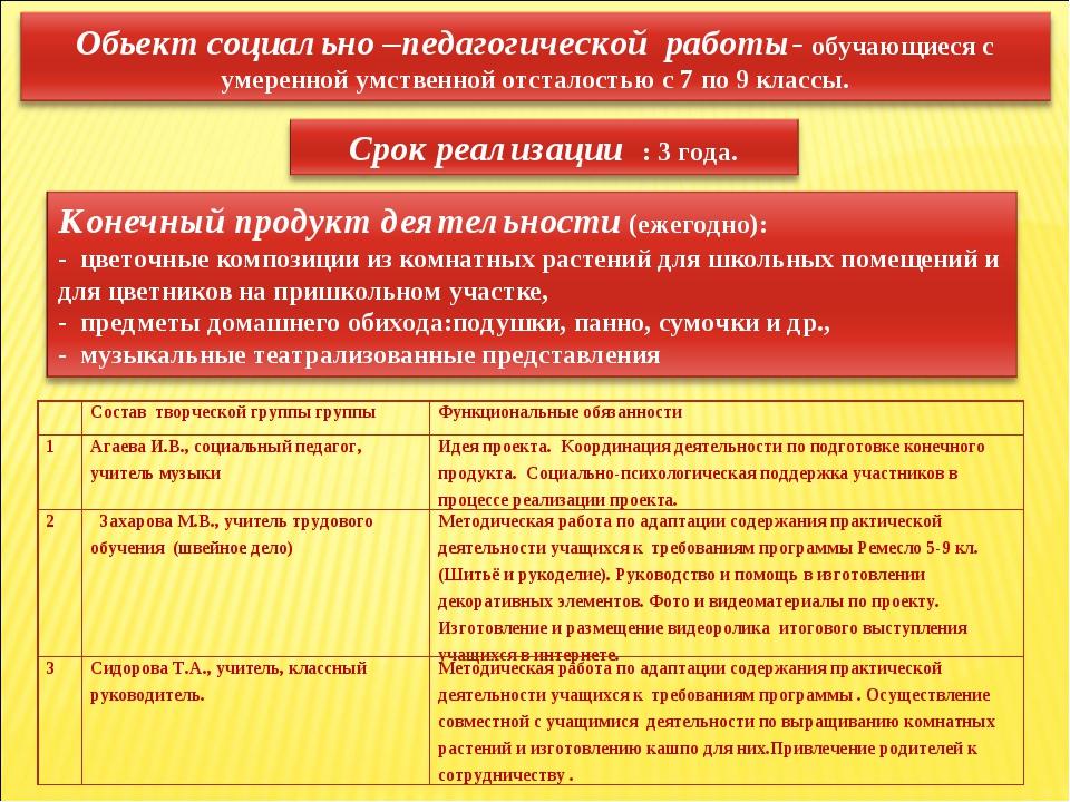 Состав творческой группы группыФункциональные обязанности 1Агаева И.В., со...